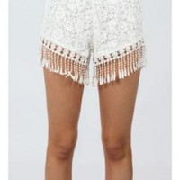White Lace Tassels Shorts