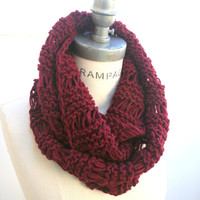 Knit Scarf Autumn Scarf Red Berry Knit Scarves Winter Scarf Knit Neckwarmer - by PiYOYO