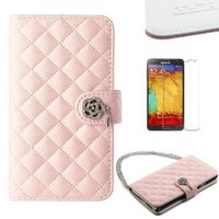 Pandamimi ULAK(TM) Luxury Fashion Handbag Metal Chain Style PU Leather Wallet Case Folio Cover Credit Card Slot Holder for Samsung Galaxy Note III Note 3 N9000 with Screen Protector (Baby Pink w/Luxury Bling Button)