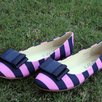 Preppy Striped Bow Flats