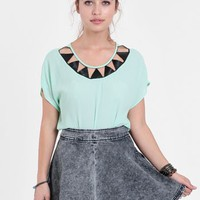 Waste Of Space Denim Skater Skirt