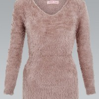 Mocha V-Neck Fluffy Sweater