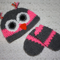 Pink and Gray Crocheted Infant Thumbless Mittens And Owl Hat set- Baby Shower, First Christmas, First Winter Baby Mittens
