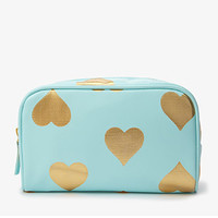 Metallic Heart Cosmetic Bag