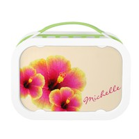 Colorful Three Hibiscus on White Lunch Box