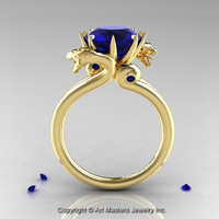 Art Masters 18K Yellow Gold 3.0 Ct Blue Sapphire Dragon Engagement Ring R601-18KYGBS