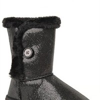 Glitter Slipper Boot with Faux Fur Lining and Button on Side
