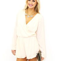 West Coast Wardrobe She's Blushing Romper In Peach