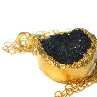 50% OFF SALE Black druzy and raw diamond necklace - Gold-dipped