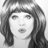 "Original Charcoal Drawing ""Pucker Up"" Zooey Deschanel"
