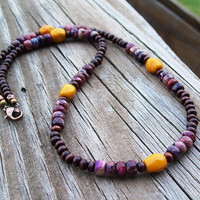 New ~~ Crazy Horse Jasper and Wood Beaded Necklace - Hippie Bohemian Necklace