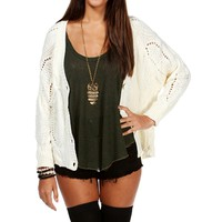 White Open Knit Cardigan