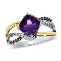 Amethyst and 1/8 CT. T.W. Enhanced Champagne and White Diamond Ring in 10K Two-Tone Gold