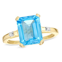 Emerald-Cut Blue Topaz and Diamond Accent Ring in 10K Gold