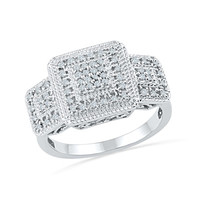1/3 CT. T.W. Composite Princess-Cut Diamond Fashion Ring in Sterling Silver