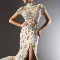 Beaded Sheer Gown by Tony Bowls Collections