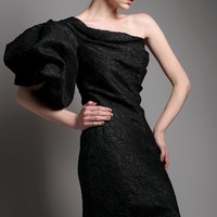 Asymmetrical Puff Sleeve Dress by Arzu Akcay