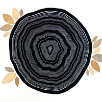 Watercolor Painting Black Tree Rings - Nature Art - 11x14 Large Archival Print