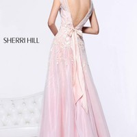 Open Back Sheer Gown by Sherri Hill