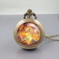 Peter Pan Pocket Watch Locket Necklace,Peter pan Neverland Map,vintage pendant Pocket Watch Locket Necklace