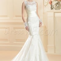 $ 176.99 Dresswe.com SUPPLIES Gorgeous Trumpet/Mermaid Floor-Length Scoop Chapel Train Lace Wedding Dress