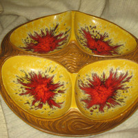 Mid Century Modern Ceramic 4 divided Relish dish Tray Orange, Yellow & Metallic red Gold Volcano Drip Glazed