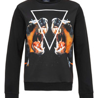 Black Doberman Neoprene Printed Sweatshirt - New In - TOPMAN USA