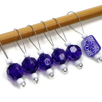 Knitting Stitch Markers, Snag Free, DIY Knitting, Gift for Knitter, Purple, White, TJBdesigns