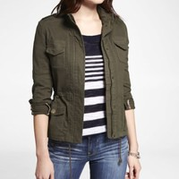 KHAKI GREEN STRETCH COTTON JACKET