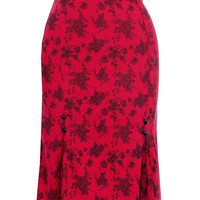 Crimson Coquette Pencil Skirt