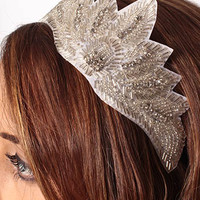 Deco Style White Bead Rhinestone Headband - wedding hair accessory