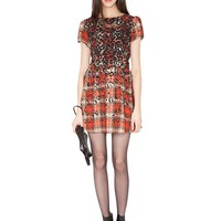 Plaid animal print dress