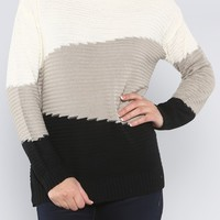 Tri-Color Sweater, Black Grey