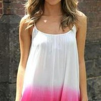 Pink & White Ombre Sleeveless Dress with Crochet Hem