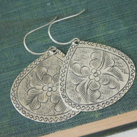 Leafy Teardrop Hook Earrings - Antiqued Silver Tin Leaf Teardrop Pendant Earrings Silver Fish Hook Ear Wires