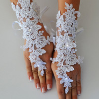 FREE SHIPPIN Wedding Glove, white lace gloves, Fingerless Glove, UNIQUE Bridal glove, wedding bride, bridal gloves, stony gloves