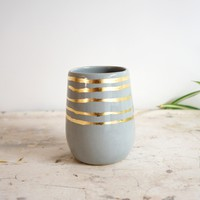 Gray + Gold Stripes Cylinder Vase | BRIKA - A Well-Crafted Life