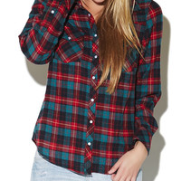 Roll Up Sleeve Flannel Shirt | Wet Seal