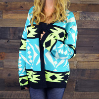 Scottsdale Adventure Tourquoise Tribal Cardigan