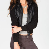 FULL TILT Fleece Sleeve Womens Faux Leather Jacket