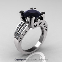 Modern Vintage 950 Platinum 3.0 Carat Black and White Diamond Solitaire Ring R102-PLATDBD