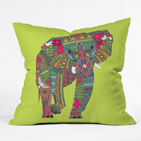 Sharon Turner Painted Elephant Chartreuse Outdoor Throw Pillow