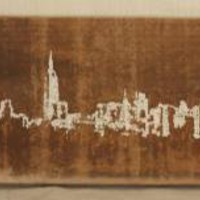 White Skyline Reclaimed barn wood screen printed by sheepshead