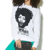 Jimi Hendrix Destroyed Sweatshirt | Wet Seal
