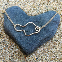 Maui Necklace, Heart in Hana, 14k Gold Fill or Sterling Silver, Gift for Her, Stocking Stuffer, Hawaii Beach Jewelry