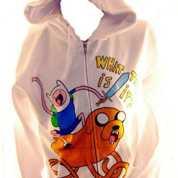 Adventure Time Mens Hoodie - Finn Riding Jake What Time Is It on White