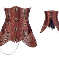 Brown Lace up Boned Victoria Underbust Steampunk Corset Top Basques