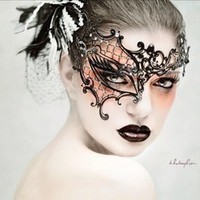 Phantom Laser Cut Venetian Masquerade Mask with Sparkling Rhinestones - Filigree
