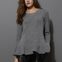 Frill Hem Knitted Top in Grey