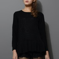 Frill Hem Knitted Top in Black